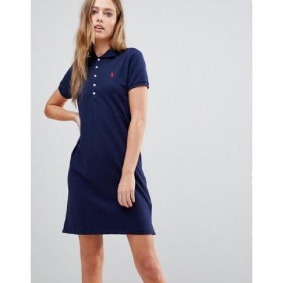 Ralph Lauren Sport Polo Shirt Dress Blue Red Pony